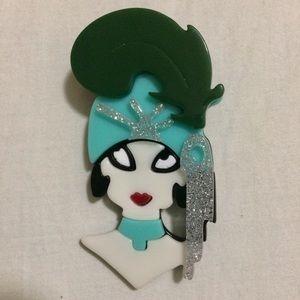 Designer Acrylic 3D Flapper Brooch Pin